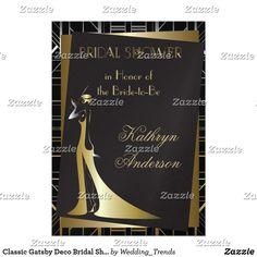 Shop Classic Gatsby Deco Bridal Shower Invitation created by Wedding_Trends. 1920s Speakeasy, Speakeasy Party, 1920s Theme, Great Gatsby Theme, Zazzle Invitations, Bridal Shower Invitations, Party Themes, Party Ideas, Gatsby Style