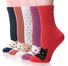 EBMORE Women's Fashion Soft Printed Wool Warm Winter Thick Socks - 5 Pack ** Continue to the product at the image link.