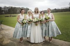 A Simple Springtime Wedding at Broughton Hall. Bridesmaids wearing green. Image by Bethany Clarke Photography. Read more: http://bridesupnorth.com/2015/12/17/new-blooms-a-simple-springtime-wedding-at-broughton-hall-sally-dave/