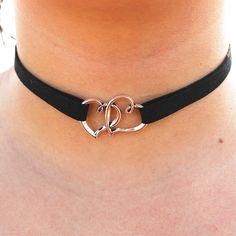 N2010 Katmanlı Kadife Kadınlar Goth Çift Kalp Kolye Kolye Collares Için Chokers kolye Moda Takı Bijoux Yakası