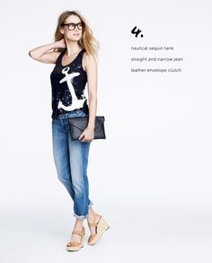 J.Crew | nautical sequin tank, straight & narrow jean, envelope clutch