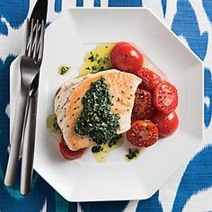 Pan-roasted Halibut with Kale Pesto and Cherry Tomatoes Recipe | MyRecipes.com
