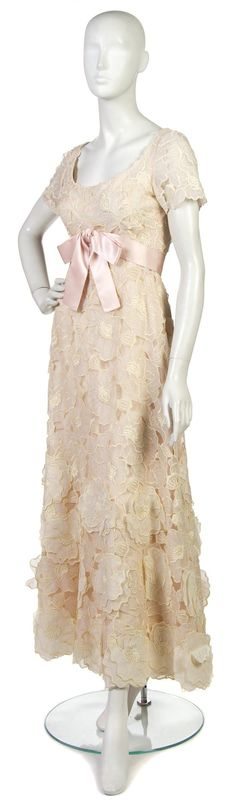 Christian Dior Couture Pale Pink Floral Lace Evening Gown,  with a pink silk belt.
