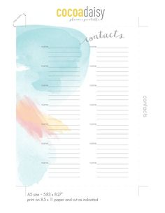 FREE printable A5 Bundle: Contacts