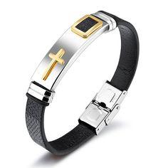 OPK Cross Leather Bracelet For Men 8 MM Width Band Stainless Steel Logo Length Resizable Male Handmade Wrap Bracelets Bracelets For Men, Bangle Bracelets, Bangles, Cross Bracelets, Diamond Bracelets, Silver Bracelets, Necklaces, Black Leather Bracelet, Leather Bracelets