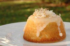 Coconut tea cake with buttery rum glaze