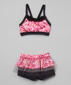 51dd9cdbc0 This Niva-Miche Clothes Fuchsia Foil Wave Sports Bra   Shorts - Toddler    Girls by Niva-Miche Clothes is perfect!