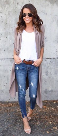 7ff51da3771  fall  outfits women s white tank top and blue distressed jeans Brown Belt  Outfit