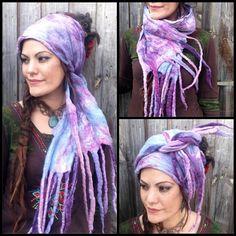 The 'Unicorn Breath' Pastel Hippie Felted Dread Wrap, Gypsy Headscarf, Felted…