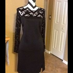 DONNA RICCO LACEY DRESS. GORGEOUS DESIGNER DONNA RICCO BLACK LACE TOP, GREAT FOR ANY OCCASION, GATHERING,PARTY,CHURCH, WEDDING, DINNER, SUCH AN ELEGANT SASSY , DRESS, BRAND NEW WITH TAGS, SMOKE FREE HOME, . LONG SLEEVE PENCIL COCKTAIL DRESS, Donna Ricco Dresses