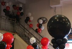 """Fire truck decor (love the spotted """"dalmatian balloons)"""