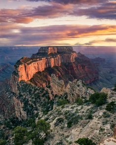 Wotans Throne glows in sunset colors at the North Rim of Grand Canyon National Park in Arizona.