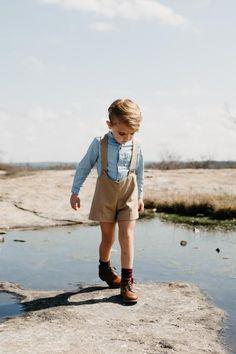 the Suspender Shorts in Khaki  Boys Style | Toddler Boys Style | Kids Fashion | Boy Mom | Boys Easter Outfit Inspo | Handmade | Suspender Shorts | Vintage Style Romper | #toddleroutfits #boyoutfits #toddlershortsboy
