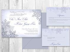 WEDDING INVITATIONS Winter PRINTABLE - Winter wedding invitations via Etsy