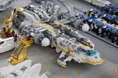 """A whole fleet of Exploriens ships was undergoing maintenance at the moonbase spaceport."", at Bricking Bavaria 2011 