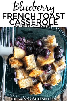Blueberry French Toast Casserole is a simple and delicious breakfast recipe for a crowd that everyone loves! It can be made the night before or the day of which makes it perfect for a brunch or holiday breakfast. Healthy Breakfast Casserole, Delicious Breakfast Recipes, Breakfast Dishes, Breakfast Ideas, Yummy Food, Ww Recipes, Dessert Recipes, Skinny Recipes, Healthy Recipes