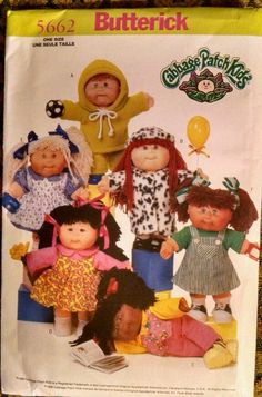 """Butterick Cabbage Patch Kids & Clothes 14"""" Doll #5662 Uncut Sewing Pattern Craft"""
