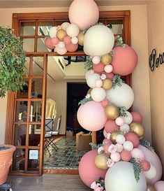 A pretty pink, white and gold balloon garland for an birthday. A pretty pink, white and gold balloon garland for an birthday. Bridal Shower Balloons, Wedding Balloons, Birthday Balloons, Jumbo Balloons, White Balloons, Birthday Party Decorations, Baby Shower Decorations, Birthday Parties, Birthday Garland