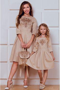 Платье детское с вышивкой и пышной юбкой • бежевый • интернет магазин • vilenna.ua
