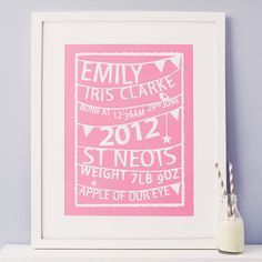 personalised bunting birth print by modo creative | notonthehighstreet.com