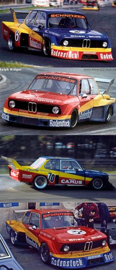 1977 BMW 2002 Schnitzer / group 5 liveries / Rodenstock / red yellow blue / Germany