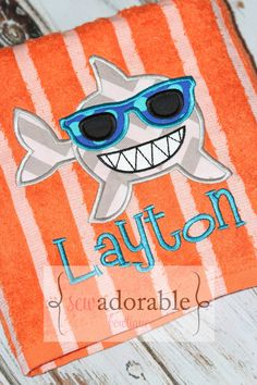 Get ready for your Summer vacation with this adorable shark appliqued beach towel that comes complete with FREE MONOGRAMMING! This would also make a cute birthday gift for any little boy!