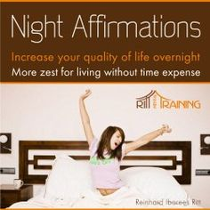 Night Affirmations - Increase Your Quality of Live Overnight - More Zest for Living Without Time Expense Ritt-Mentaltraining | Format: MP3 Music, http://www.amazon.co.uk/dp/B008RB2RVE/ref=cm_sw_r_pi_mp3