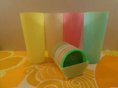 VTG Retro Groovy Tupperware Pastel Tumbler Cups and Coasters