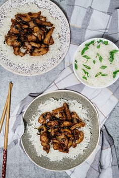 Chinese garlic chicken served over a bed of rice Sub coconut aminos, tapioca starch, and use brown rice Chinese Garlic Chicken, Garlic Chicken Recipes, Chicken Meals, Asian Recipes, Ethnic Recipes, Easy Recipes, Keto Recipes, Healthy Meal Prep, Healthy Eating