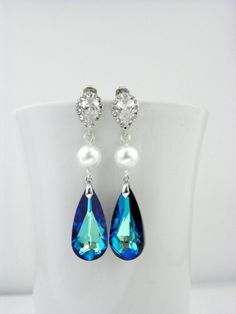 Peacock Wedding Earrings: Bermuda Blue Swarovski, White Pearl, Dark Blue Earrings