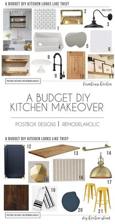 "Grab the FREE ""Shop This Room"" Guide + Shopping List from Postbox Designs, Interior E-Design. Create a Modern Farmhouse Kitchen + DIY Kitchen Island Tutorial. Neutral Farmhouse Kitchen Design via Online Interior Design for Remodelaholic Diy Home Decor Rustic, Diy Kitchen Decor, Diy Kitchen Cabinets, Interior Design Kitchen, Cheap Home Decor, Wood Cabinets, Kitchen Designs, Kitchen Sinks, Interior Design Boards"