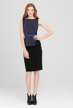 Luxe Crepe Skirt Suit - Giada Blouse & Katie Skirt by elietahari: Elegant, crepe, waist accentuating color blocked blouse with blue belt and immaculately cut crepe skirt. #Suit #Work_Wardrobe #elietahari