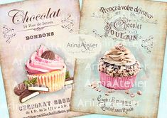 Shabby Chic Patisserie Set no.2 - Large Images - Backgrounds - 5x7 inch - Digital Print - to print on- Tote, Bags, t-shirts Download