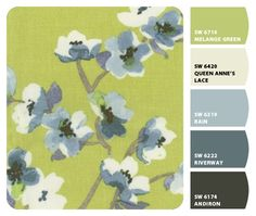 Living room color palette *green and greyish blue.*