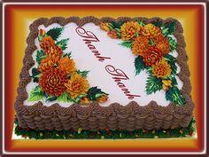 Buttercream Mums - fall sheet cake