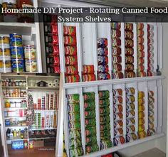 Homemade DIY Project – Rotating Canned Food System Shelves