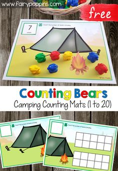 These free camping counting mats can be used with counting bears. They help kids to count from one up to twenty. You can choose between a blank counting mat or a mat with ten frames. They're great for kids in preschool and kindergarten. Preschool Themes, Preschool Lessons, Preschool Classroom, Preschool Learning, Classroom Themes, Kindergarten Math, Montessori Preschool, Montessori Elementary, Elementary Art
