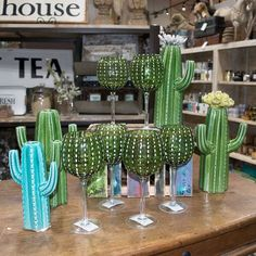 Cambria Cactus Glassware by Teskey's Saddle Shop - COWGIRL Magazine