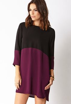 Sleek Colorblocked Shift Dress | FOREVER21 Warm colors, sleek style #Love21 #ShiftDress #Colorblocked #Love21