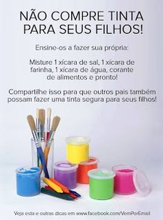 Do not buy paint for their children! Do it yourself ; Diy For Kids, Cool Kids, Crafts For Kids, Kids Fun, Experiment, Diy Toys, Kids Education, Kids And Parenting, Diy Art