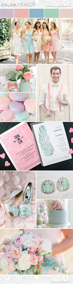 Get inspired for the lovely upcoming Spring and Summer Wedding season with the delicate and romantic Mixed Pastels featured in the latest Color Crush Inspiration Board.