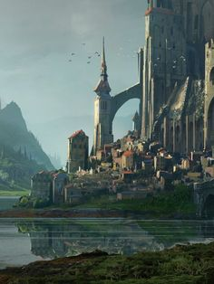 Fantasy Art Watch — Kvaslr Fortress by Raphael Lacoste Fantasy City, Fantasy Castle, Fantasy Places, Fantasy Kunst, High Fantasy, Medieval Fantasy, Fantasy World, Landscape Concept, Fantasy Landscape