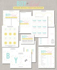 Items similar to Gender Reveal Party Collection - DIY on Etsy Reveal Parties, Gender Reveal, Shower Invitations, Bullet Journal, Party, Diy, Collection, Do It Yourself, Fiesta Party