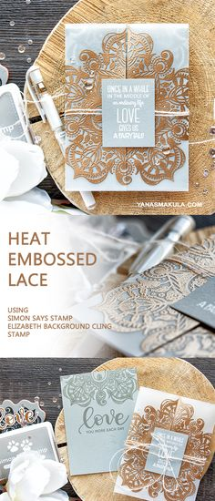 Have you ever seen heat embossed lace? Use Simon Says Stamp Elizabeth Cling Background stamp and embossing powder to create the look of lace for any project! To learn more, please visit http://www.yanasmakula.com/?p=56594