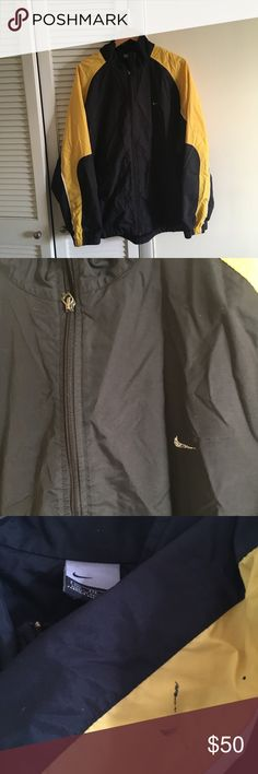 Yellow and black vintage 90s Nike Windbreaker Yellow and black vintage vtg 90s Nike retro Windbreaker Jacket  Has a stain on the sleeve and the big Nike sign on the back is fading from vintage  Super dope jacket  Supreme condition  Says 2x but can be worn as an XL Willing to negotiate offer Nike Jackets & Coats Windbreakers