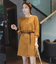 http://prettylittlethings.org.uk . [Miamasvin] Belted Dress with Flaps korean fashion,  womens