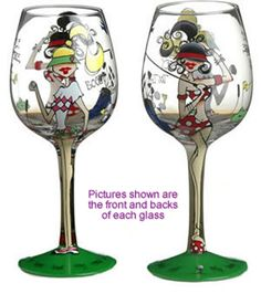 """""""Fore"""" Hand Painted Wine Glasses"""