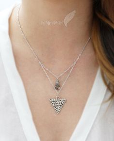 Antique Silver Triangle Textured Pendant Double by Bumhemian, $19.25