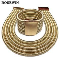 MANILAI 2017 Hot Boho Collar Necklace Jewelry Sets Fashion Magnetism Button Multilayer Choker Necklaces Bracelets Set Women
