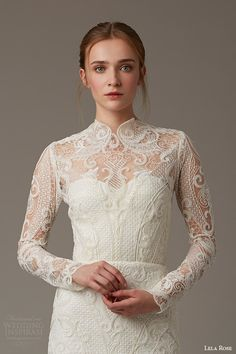 lela rose bridal spring 2016 the birchwood illusion neckline long sleeve lace wedding dress high neck threadwork detail -- Lela Rose Bridal Spring 2016 Wedding Dresses Lela Rose, 2016 Wedding Dresses, Bridal Dresses, Wedding Gowns, Bridesmaid Dresses, Tulle Wedding, Ball Dresses, Ball Gowns, Long Sleeve Wedding